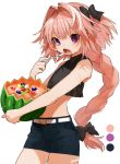 1boy artist_name astolfo_(fate) bangs bare_arms bare_shoulders belt black_shirt blueberry cherry circle commentary_request cowboy_shot crop_top denim denim_shorts eyebrows_visible_through_hair fang fate/apocrypha fate/grand_order fate_(series) food fruit gotoh510 hair_intakes hand_up highres holding holding_fruit holding_spoon long_braid long_hair looking_at_viewer male_focus midriff open_mouth pink_hair shirt short_shorts shorts signature sleeveless sleeveless_shirt spoon standing trap very_long_hair violet_eyes watermelon