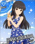 black_hair blush brown_eyes character_name dress idolmaster idolmaster_cinderella_girls kurokawa_chiaki long_hair smile stars