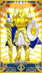1boy armor armored_boots bird bird_man black_eyes boots card_(medium) card_parody chick commentary_request fate/grand_order fate_(series) food full_body gold_armor highres hiyoko-chan holding holding_weapon mascot nissin noodles pants parody ramen redrop serious servant_card_(fate/grand_order) shield signature solo sword weapon white_pants
