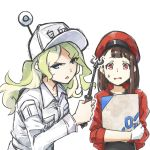 2girls alternate_costume blue_eyes blush brown_hair cabbie_hat cosplay employee_uniform glaring gloves green_hair hat hataraku_saibou highres little_witch_academia multiple_girls open_mouth red_blood_cell_(hatataku_saibou) red_blood_cell_(hatataku_saibou)_(cosplay) redhead seren_lwa simple_background sweatdrop uniform upper_body white_background white_blood_cell_(hataraku_saibou) white_blood_cell_(hataraku_saibou)_(cosplay)
