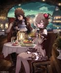 1boy 1girl ahoge blush brown_dress brown_gloves brown_hair brown_legwear detached_sleeves dress embarrassed eyebrows_visible_through_hair ezusuke flower gloves hair_between_eyes hair_flower hair_ornament highres holding holding_spoon layered pleated_dress red_eyes red_flower red_rose rose shingeki_no_bahamut short_dress short_hair sitting sky sleeveless sleeveless_dress spiky_hair spoon star_(sky) starry_sky sweatdrop thigh-highs white_neckwear zettai_ryouiki