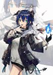1girl :p arknights bangs black_gloves black_jacket black_shorts blue_eyes blue_fire blue_hair blue_tongue blush closed_mouth cowboy_shot detached_wings fire fur-trimmed_jacket fur_trim gloves grey_shirt hair_between_eyes halo highres horns jacket long_sleeves looking_at_viewer mismatched_gloves mostima_(arknights) open_clothes open_jacket pouch shirt short_hair short_shorts shorts smile solo tail thighs thumb_to_mouth tongue tongue_out white_background white_gloves wings yuuki_mix zoom_layer