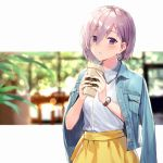 1girl alternate_costume blouse blurry blurry_background blush bokeh casual contemporary cup depth_of_field earrings eyebrows_visible_through_hair fate/grand_order fate_(series) fingers_together hair_between_eyes haru_(hiyori-kohal) jacket_on_shoulders jewelry lavender_hair mash_kyrielight outside_border parted_lips short_hair skirt starbucks violet_eyes watch watch