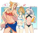 3girls :< :d ? abs anger_vein ball bare_shoulders beachball bikini black_bikini blonde_hair breasts circlet cleavage clenched_teeth closed_eyes closed_mouth commentary criss-cross_halter dated directional_arrow fate/apocrypha fate/grand_order fate_(series) green_eyes halterneck headband heart kodama_(wa-ka-me) large_breasts laughing long_hair looking_at_another medium_breasts mordred_(fate) mordred_(fate)_(all) multiple_girls muscle muscular_female navel open_mouth penthesilea_(fate/grand_order) ponytail quetzalcoatl_(fate/grand_order) red_bikini sarong shorts small_breasts smile spoken_anger_vein spoken_heart swimsuit teeth very_long_hair white_hair
