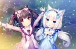 2girls :3 ^_^ animal_ears arms_up black_hair blue_eyes blush bow brown_eyes cat_ears chocola_(sayori) closed_eyes closed_eyes closed_mouth dress eyebrows_visible_through_hair game_cg hair_bow hairband highres long_hair looking_at_viewer multiple_girls nekopara open_mouth outdoors outstretched_arms sayori smile snow spread_arms twintails vanilla_(sayori) white_hair