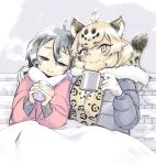 2girls alternate_costume animal_ears arm_around_shoulder black_hair blonde_hair blush bt_(shio_oninko) coat commentary_request cup eyebrows_visible_through_hair fur_collar fur_trim jaguar_(kemono_friends) jaguar_ears jaguar_print jaguar_tail kaban_(kemono_friends) kemono_friends long_sleeves mug multicolored_hair multiple_girls shared_blanket short_hair tail winter_clothes
