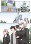 ahoge artoria_pendragon_(all) breasts brown_hair bubble_blowing comic commentary_request disney disneyland donald_duck faceless faceless_male fate/grand_order fate_(series) father_and_son fujimaru_ritsuka_(male) hair_ribbon hat jeanne_d'arc_(alter)_(fate) jeanne_d'arc_(fate)_(all) jewelry large_breasts mother_and_son necklace ribbon saber_alter short_hair silent_comic silver_hair