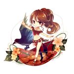 1girl bangle bangs bare_shoulders bird bracelet breasts brown_hair chibi dancer dextral earrings flower full_body hoop_earrings jewelry long_skirt medium_breasts navel neck_ring no_nose octopath_traveler outstretched_arms pelvic_curtain pink_eyes pink_flower ponytail primrose_azelhart red_skirt sandals skirt solo yellow_flower