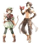 1boy 1girl absurdres crop_top cyrus_(octopath_traveler) full_body highres octopath_traveler simple_background tecchen tressa_(octopath_traveler) white_background