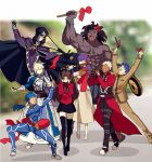1boy 2girls ahoge anger_vein archer armor armored_dress artoria_pendragon_(all) berserker black_hair black_legwear black_skirt blonde_hair blue_hair bow caster coat commentary_request covering_ears dark_skin dark_skinned_male dress faceless fate/stay_night fate_(series) gauntlets hair_bow hair_bun hair_ribbon hat homurahara_academy_uniform instrument lancer long_hair long_sleeves matou_sakura matou_shinji meme multiple_girls music open_mouth playing_instrument purple_hair red_bow red_coat ribbon saber school_uniform short_hair skirt thigh-highs tohsaka_rin trench_coat trumpet_boy twintails two_side_up white_hair yaoshi_jun zettai_ryouiki