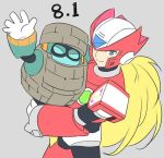 2boys ^_^ android block_man blonde_hair blue_eyes carrying closed_eyes closed_eyes commentary english_commentary grey_background helmet jiayu_long male_focus multiple_boys robot rockman rockman_10 rockman_zero simple_background smile waving zero_(rockman)