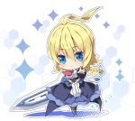1girl ahoge bangs black_legwear blazblue blonde_hair blue_dress blue_eyes blue_footwear blush boots braid breasts chibi closed_mouth commentary dress es_(xblaze) eyebrows_visible_through_hair hair_between_eyes holding holding_sword holding_weapon huge_ahoge huge_weapon large_breasts long_hair long_sleeves looking_at_viewer milkpanda outstretched_arm pantyhose single_braid solo sparkle standing sword very_long_hair weapon wide_sleeves