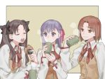 3girls bangs black_bow bow bowtie brown_hair buttons closed_eyes cup eating fate/stay_night fate_(series) hair_bow holding holding_cup homurahara_academy_uniform long_sleeves matou_sakura mitsuzuri_ayako multiple_girls open_mouth orange_eyes purple_hair red_ribbon ribbon sara_(kurome1127) shirt tohsaka_rin two_side_up upper_body vest violet_eyes white_shirt