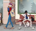 2boys american_flag_hat arjuna_(fate/grand_order) bag bench bird black_hair dark_skin dark_skinned_male eating fate/extella fate/extra fate/grand_order fate_(series) food hamburger karna_(fate) male_focus multiple_boys pigeon shopping_bag sidewalk stuffed_toy walking white_hair white_skin