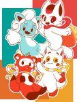 2020_summer_olympics 4others animal black_eyes blush_stickers fangs kitsune kitsune_(team_i) kitsune_(team_u) komainu_(team_i) leaf leaf_on_head multiple_others no_humans olympics outstretched_hand rope shimenawa smile tanuki tanuki_(team_u) yellow_sclera