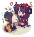 2girls abigail_williams_(fate/grand_order) artist_request bow chibi fate/grand_order fate_(series) hair_ornament hat japanese_clothes katsushika_hokusai_(fate/grand_order) kimono long_sleeves multiple_girls obi octopus saint_quartz sash stuffed_animal stuffed_toy tears teddy_bear
