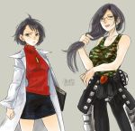 2girls anato0350 bare_arms biker_clothes black_eyes black_hair blush breasts camouflage capcom clothes_around_waist commentary cosplay costume_switch earrings glasses grey_background jacket jewelry kazama_akira kazama_akira_(cosplay) labcoat large_breasts leather leather_jacket long_hair minazuki_kyouko minazuki_kyouko_(cosplay) multiple_girls pants pendant ribbed_sweater rival_schools short_hair skirt small_breasts smile sweatdrop sweater tank_top tied_jacket turtleneck turtleneck_sweater twitter