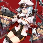 1girl azur_lane banner blue_eyes breasts cannon cleavage cross cross_earrings earrings eyebrows_visible_through_hair fur-trimmed_boots fur_trim gloves hair_between_eyes hat highres holding holding_pole jewelry large_breasts long_hair looking_at_viewer machinery military military_uniform norwegian_flag peaked_cap rigging short_hair silver_hair sitting solo sukemyon thighs tirpitz_(azur_lane) turret uniform white_gloves