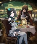 1boy 1girl black_gloves black_hair blue_flower blue_rose brown_hair detached_sleeves dress eating ezusuke flower food gloves green_eyes grey_dress grey_legwear hair_flower hair_ornament head_tilt highres holding holding_spoon layered_dress looking_at_viewer pleated_dress rose shingeki_no_bahamut short_dress sitting sky sleeveless sleeveless_dress spiky_hair spoon star_(sky) starry_sky thigh-highs white_neckwear wooden_floor zettai_ryouiki