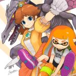 2girls alien bangs bike_shorts black_shorts blue_eyes brown_hair crown domino_mask dragon dress earrings gloves holding inkling jewelry long_hair looking_at_viewer mario_(series) mask metroid monster multiple_girls orange_hair pointy_ears princess_daisy ridley sharp_teeth shirt shoes shorts smile spikes splatoon squid_girl super_mario_bros. super_smash_bros. teeth tentacle_hair tongue weapon wings yellow_dress yellow_eyes