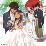 2boys 2girls blush bouquet bridal_veil brown_hair couple dark_skin dark_skinned_male dress fate/grand_order fate/prototype fate/prototype:_fragments_of_blue_and_silver fate_(series) flower hair_flower hair_ornament holding holding_bouquet holding_umbrella japanese_clothes jewelry kimono long_hair long_sleeves looking_at_another medjed moses_(fate/prototype_fragments) multiple_boys multiple_girls necklace nefertiti_(fate/prototype_fragments) nitocris_(fate/grand_order) nitocris_(swimsuit_assassin)_(fate) omi_(tyx77pb_r2) open_mouth outdoors ozymandias_(fate) pink_eyes pink_flower pink_rose red_umbrella rose smile uchikake umbrella veil wedding_dress white_flower white_kimono white_rose wide_sleeves yellow_eyes
