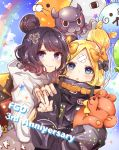 >_o 2girls abigail_williams_(fate/grand_order) absurdres animal anniversary balloon bangs black_bow black_hat black_jacket blonde_hair blue_eyes blue_sky blush bow closed_mouth clouds commentary_request copyright_name day fate/grand_order fate_(series) fingernails fou_(fate/grand_order) grey_hoodie hair_bow hand_on_another's_shoulder hand_up hat heart hi_(wshw5728) highres hood hood_down hoodie jacket katsushika_hokusai_(fate/grand_order) long_hair long_sleeves looking_at_viewer medjed multiple_girls object_hug octopus one_eye_closed orange_bow outdoors parted_bangs parted_lips polka_dot polka_dot_bow purple_hair rainbow sky sleeves_past_fingers sleeves_past_wrists smile stuffed_animal stuffed_toy teddy_bear v