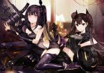 2girls architect_(girls_frontline) asymmetrical_clothes bangs bare_shoulders black_footwear black_gloves black_legwear black_sailor_collar black_serafuku black_shirt black_shorts black_skirt boots bow breast_press breasts brown_eyes brown_hair cleavage commentary_request evil_grin evil_smile eyebrows_visible_through_hair girls_frontline gloves grin hair_bun high_heel_boots high_heels indoors knee_boots long_hair looking_at_viewer medium_breasts multiple_girls object_hug ouroboros_(girls_frontline) parted_lips pink_eyes pleated_skirt purple_footwear purple_hair purple_legwear reclining sailor_collar sangvis_ferri school_uniform serafuku shirt short_shorts short_sleeves shorts side_bun skirt smile striped tetsubuta thigh-highs twintails v-shaped_eyebrows vertical_stripes very_long_hair weapon white_bow window