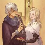 1boy 1girl apple bandage blonde_hair blush cape dress e_f_regan826 food fruit gloves hair_over_one_eye jewelry long_hair octopath_traveler open_mouth ophilia_(octopath_traveler) scarf short_hair smile therion_(octopath_traveler)