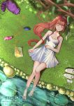 1girl absurdres animal animalization artist_name bag bare_arms bare_legs barefoot bird blurry_foreground branch breasts brown_hair closed_eyes collarbone commission day doki_doki_literature_club dress eyebrows_visible_through_hair from_above hair_ribbon hand_on_own_stomach highres huge_filesize kaze-hime long_hair lying medium_breasts monika_(doki_doki_literature_club) natsuki_(doki_doki_literature_club) nature on_back on_ground outdoors plastic_bag ponytail raccoon ribbon sayori_(doki_doki_literature_club) shoes_removed signature soaking_feet socks_removed solo squirrel water white_dress white_ribbon yuri_(doki_doki_literature_club)