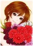 1boy bare_arms bare_shoulders bouquet brown_eyes brown_hair close-up eyelashes face flower flower_request happy head_tilt highres jirou_(asami0512jump) leaf light_smile looking_at_viewer meiko pink_background purple_flower red_flower red_rose red_shirt rose shirt short_hair simple_background sleeveless sleeveless_shirt smile solo_focus upper_body vocaloid white_flower