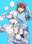 ! 1boy 1girl black_footwear boots brown_hair carrying collared_shirt gloves hataraku_saibou long_hair looking_at_viewer mery_(apfl0515) open_mouth platelet_(hataraku_saibou) salute shirt shorts shoulder_carry sitting_on_shoulder smile spoken_exclamation_mark u-1146 uniform white_blood_cell_(hataraku_saibou) white_gloves white_hair white_skin yellow_eyes