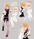 1boy 1girl anoko_(darenokoanoko) bare_shoulders blonde_hair blue_eyes blue_footwear blush checkered closed_mouth dress grey_background hands_on_own_face heart kingdom_hearts kingdom_hearts_ii long_hair looking_at_viewer namine outline pants roxas sandals short_dress short_hair smile spiky_hair translated white_dress white_outline wristband