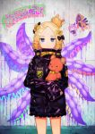 1girl :< abigail_williams_(fate/grand_order) alternate_hairstyle bandaid_on_forehead bangs belt black_bow black_jacket blonde_hair blue_eyes blush bow closed_mouth cowboy_shot fate/grand_order fate_(series) forehead hair_bow hair_bun high_collar highres holding holding_stuffed_animal jacket lavinia_whateley_(fate/grand_order) long_hair long_sleeves looking_at_viewer object_hug orange_bow parted_bangs polka_dot polka_dot_bow sleeves_past_fingers sleeves_past_wrists solo standing stuffed_animal stuffed_toy suction_cups teddy_bear tentacle tetsubuta thighs