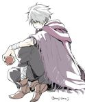 1boy bandage cape gloves hair_over_one_eye looking_at_viewer male_focus monji_samonji octopath_traveler scarf short_hair simple_background solo therion_(octopath_traveler) white_hair