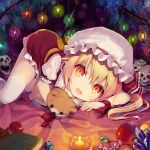 1girl :d apple blonde_hair book candle candy commentary_request crystal dress eyebrows_visible_through_hair fangs feet_out_of_frame flandre_scarlet food frilled_shirt_collar frills fruit gem hair_between_eyes hat hat_ribbon holding holding_stuffed_animal jewelry light_particles looking_at_viewer lying minamura_haruki mob_cap nail_polish open_mouth orange_eyes orange_sash pendant petticoat pointy_ears puffy_short_sleeves puffy_sleeves red_dress red_nails red_ribbon ribbon sash short_sleeves side_ponytail skull smile solo stuffed_animal stuffed_toy teddy_bear thigh-highs thighs touhou white_hat white_legwear wings wrist_ribbon zettai_ryouiki