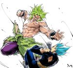 2boys armor battle blank_eyes blue_hair boots broly clenched_hand clenched_hands commentary dragon_ball dragon_ball_super dragonball_z duel evil_smile fingernails gloves green_hair incoming_punch male_focus multiple_boys muscle no_pupils pants profile purple_pants scar shirtless short_hair simple_background smile spiky_hair super_saiyan super_saiyan_blue teeth torn_clothes vegeta white_background white_gloves wristband
