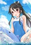 1girl :o bangs bare_arms bare_shoulders blue_sky blush breasts brown_hair casual_one-piece_swimsuit clouds collarbone commentary_request day eyebrows_visible_through_hair hair_between_eyes hair_ribbon high_ponytail high_school_fleet highres inflatable_shark inflatable_toy inflation looking_at_viewer medium_breasts munetani_mashiro neko_danshaku one-piece_swimsuit open_mouth outdoors ponytail red_eyes ribbon sitting sky solo swimsuit water white_ribbon