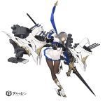 1girl azur_lane bangs boots breastplate breasts brown_legwear closed_mouth commentary_request copyright_name corset covered_nipples cross-laced_footwear diamond_(shape) fleur_de_lis full_body gauntlets grey_hair hair_between_eyes hair_ornament highres holding holding_polearm holding_spear holding_weapon kishiyo knees_together_feet_apart lace-up_boots large_breasts left-handed leg_up long_hair looking_away machinery miniskirt mole mole_under_eye official_art pantyhose pleated_skirt polearm red_eyes saint-louis_(azur_lane) sideways_mouth skirt solo spear st._louis_(azur_lane) standing standing_on_one_leg tachi-e thigh_gap torpedo transparent_background turret weapon white_footwear white_skirt world_of_warships