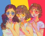 3girls bangs brown_hair drink drinking_straw glasses hair_ornament heart heart-shaped_eyewear highres holding_drink jungyeon_(twice) long_hair momo_(twice) multiple_girls parted_lips routexx shirt short_hair short_sleeves sleeveless sunglasses twice_(group) tzuyu_(twice) upper_body white_shirt