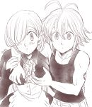 1boy 1girl artist_name bangs bare_shoulders belt blush breasts collarbone dragon_tattoo earrings elizabeth_liones greyscale hair_between_eyes hair_over_one_eye hands_on_another's_chest harumiya jewelry long_hair long_sleeves looking_at_viewer maid medium_breasts meliodas monochrome nanatsu_no_taizai parted_lips shoulder_tattoo tattoo upper_body
