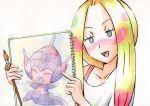 1girl blonde_hair highres matsurika_(pokemon) oka_mochi paint_in_hair paint_on_face paint_splatter paintbrush painting_(object) poipole pokemon pokemon_(anime) pokemon_sm_(anime)