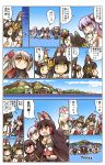 akagi_(azur_lane) animal_ears azur_lane breasts brown_hair chibi cleavage fox_ears fox_tail hair_tubes highres hisahiko horns japanese_clothes kaga_(azur_lane) mikasa_(azur_lane) mutsu_(azur_lane) nagato_(azur_lane) open_mouth orange_eyes prinz_eugen_(azur_lane) purple_hair red_eyes shoukaku_(azur_lane) skirt stuffed_unicorn tail translation_request unicorn_(azur_lane) yellow_eyes zuikaku_(azur_lane)