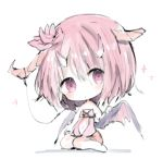1girl bangs bare_arms bare_shoulders barefoot broken_horn closed_mouth cottontailtokki curled_horns eyebrows_visible_through_hair flower hair_between_eyes hair_flower hair_ornament head_tilt horns looking_at_viewer navel original pink_flower pink_hair purple_wings red_shorts short_shorts shorts sitting solo violet_eyes wings yokozuwari