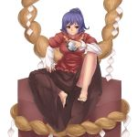 1girl black_brown_skirt box breasts commentary_request highres hinaie_takuya large_breasts long_skirt mirror purple_hair red_eyes rope sandals shide shimenawa short_hair short_ponytail sitting sitting_on_box skirt solo touhou white_background yasaka_kanako