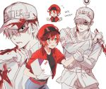 1boy 1girl ae-3803 black_eyes blood bloody_clothes cabbie_hat collared_shirt gloves hair_over_one_eye hat hataraku_saibou jacket mery_(apfl0515) package red_blood_cell_(hatataku_saibou) red_jacket shirt shorts simple_background u-1146 uniform white_background white_blood_cell_(hataraku_saibou) white_gloves white_hair white_hat white_skin