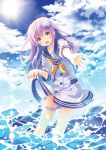 1girl :d blue_sky blush choker clouds cloudy_sky cowboy_shot d-pad d-pad_hair_ornament day dress hair_between_eyes hair_ornament highres holster long_hair looking_at_viewer narinn neckerchief nepgear neptune_(series) open_mouth outstretched_hand purple_hair reaching_out sailor_dress skirt_hold sky smile solo splashing sun violet_eyes wading water white_choker yellow_neckwear