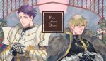 2boys armor blonde_hair blue_eyes blue_flower chains fate/grand_order fate_(series) flower fur_trim gauntlets gawain_(fate/grand_order) holding holding_sword holding_weapon knight lancelot_(fate/grand_order) looking_at_viewer multiple_boys purple_hair red_flower sara_(kurome1127) sword upper_body violet_eyes weapon