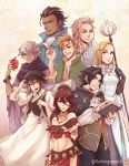 4boys 4girls alfyn_(octopath_traveler) armor bag bandage blonde_hair book bracelet braid brown_hair cape cyrus_(octopath_traveler) dancer dress everyone fingerless_gloves flamingo_(eme324) gloves green_eyes h'aanit_(octopath_traveler) hair_over_one_eye hat highres jewelry long_hair looking_at_viewer multiple_boys multiple_girls necklace octopath_traveler olberic_eisenberg open_mouth ophilia_(octopath_traveler) primrose_azelhart scar short_hair simple_background smile staff therion_(octopath_traveler) tressa_(octopath_traveler) weapon white_hair yellow_eyes