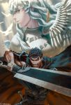 2boys androgynous armor bandage bandaged_hands bandages bangs berserk bird black_armor black_cape blue_eyes cape clenched_teeth commentary dragonslayer_(sword) english_commentary fighting_stance griffith guts highres holding holding_sword holding_weapon huge_weapon long_hair looking_at_viewer looking_to_the_side multiple_boys one-eyed prosthesis prosthetic_arm scar silver_hair spiky_hair sword teeth wavy_hair weapon white_hair whoareuu