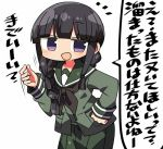 1girl :d bangs black_hair blunt_bangs blush bridal_gauntlets commentary_request eyebrows_visible_through_hair green_sailor_collar green_serafuku green_shirt green_skirt hand_on_hip hand_up kanikama kantai_collection kitakami_(kantai_collection) long_hair long_sleeves lowres notice_lines open_mouth pleated_skirt sailor_collar school_uniform serafuku shirt sidelocks simple_background skirt smile solo translation_request violet_eyes white_background
